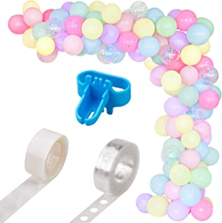 Whaline Macaron Balloon Arch & Garland Kit, 100Pcs Assorted Macaron Candy Colored and Confetti Latex Balloons with 1pcs Tying Tool, Balloon Strip Tape and Glue Dots for Wedding Birthday Party Decor