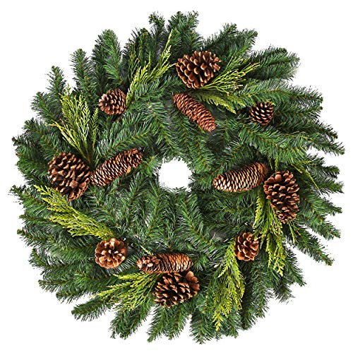 Natural Looking Christmas Juniper and Pine Wreath for Front Door