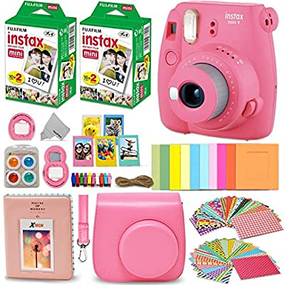 Fujifilm Instax Mini 9 Instant Camera + INSTAX Film (40 Pack) + Custom Fitted Case + 4 AA Rechargeable Batteries & Charger + Assorted Frames + Photo Album + Large Selfie Mirror + More by