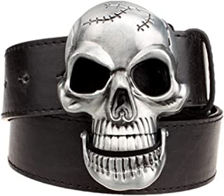Fashion Men Skull Head Leather Buckle Belt Waist Band Jeans Decorative Punk Belt