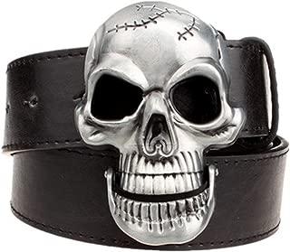 Moolecole Fashion Men Skull Head Leather Buckle Belt Waist Band Jeans Decorative Punk Belt