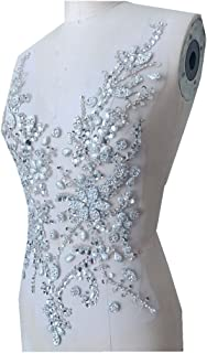 Handmade Beaded Silver Crystal Bling Sew On Bridal Rhinestone Applique Motif Patch for Wedding Dresses DIY Decorative Clothes 50x30cm