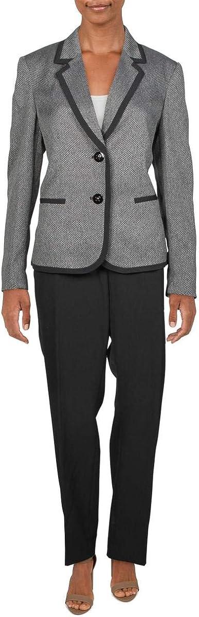 Le Suit Women's Petite Stretch Crepe 1 Button Shawl Collar Pant Suit