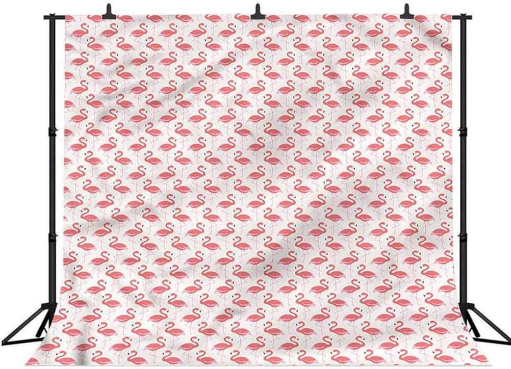 8x8FT Vinyl Photo Backdrops,Flamingo,Striped Pastel Jungle Background for Graduation Prom Dance Decor Photo Booth Studio Prop Banner