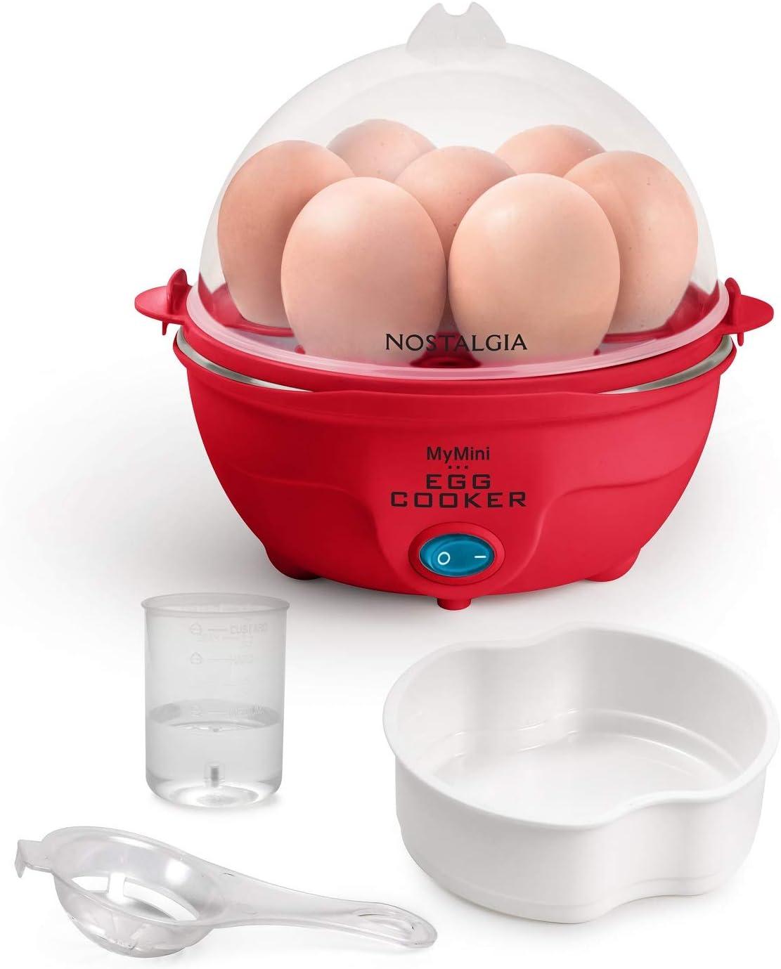 Red Nostalgia MyMini 7 Egg Cooker makes 7 soft medium or hard boiled eggs egg bowls includes egg white separator