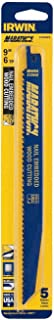 IRWIN Tools Reciprocating Saw Blade, Wood- and Nail-Embedded Wood-Cutting, 9-Inch 6 TPI, 5 Pack (372956P5)