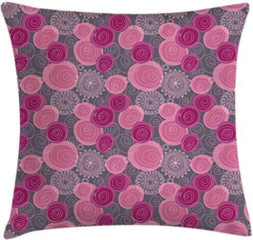Funda de cojín, rosa y gris, funda de cojín estilo garabato de encaje en forma de círculo de flores ornamentales, florecimiento decorativo, cuadrada, 45,72 x 45,72 cm, fucsia y gris magenta