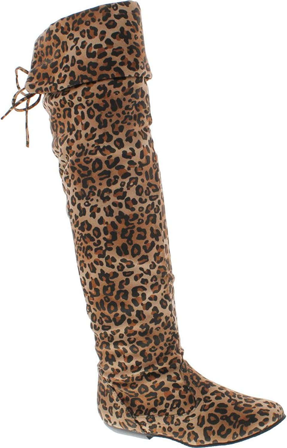 Lolli Couture Forever Link Womens Tammy-58 Faux Suede Over The Knee Flat Fold Over Boots shoes,Camel Leopard,8.5