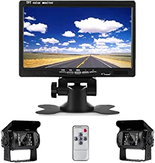 Camecho DC 12V 24V Vehicle Backup Camera System 2 x Rear View Camera Support Night Vision Waterpoof & 7' Monitor with Dual 34ft AV Cables Hardwire for Bus Truck Van Trailer RV Campers
