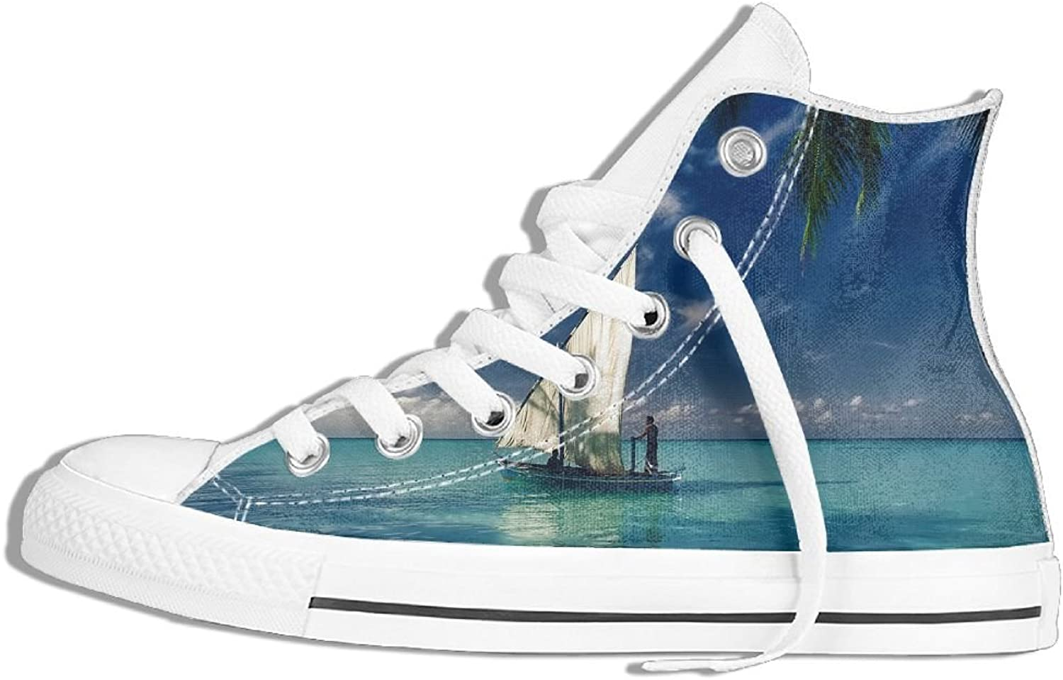 Unisex High Top Canvas Sneaker Sailboat Classic Lace Ups Canvas shoes For Women