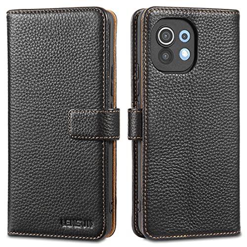 LENSUN Funda Xiaomi Mi 11 5G, Funda de Cuero Genuino con Tapa Cierre Magnético y Ranuras para Tarjetas Carcasa Libro Protección para Teléfono Xiaomi Mi 11 - Negro (M11-LG-BK)