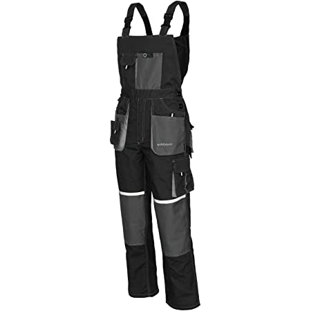 Agritrade AK Bib and Brace Dungaree Mens Multi-Pocket Cargo Heavy Duty Work Overalls EuroClassic, 11 cargo pockets, Triple Stitched Cordura Reinforcing Stress Points (44W, Grey with Kneepads)