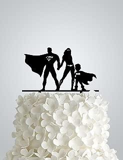 Acrylic Wedding cake Topper inspired by Superman and Wonder woman + bat boy