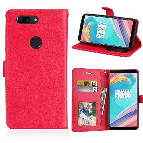 HOUSIM Capa Compatível com OnePlus 5T, Cor sólida Couro PU Capa Magnético Protetora com Flip [Porta-Cartão] Capa de proteção à prova de choque - HODKS033397MFN Vermelho