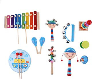 FITYLE Kids Educational Wooden Drum Rattles Toy Baby Hand Drum Toy Musical Drum Rattles Instrument Handbell Gift - 11Pcs #1