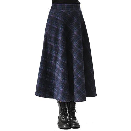 5a2d4592a3a1 TEERFU Women's Fall Winter Plaid Pleated Warm Thicken Wool Woolen Long Skirt