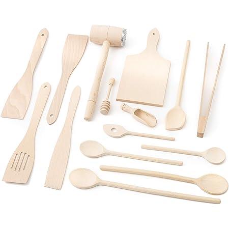 Tuuli Kitchen Ensemble de Ustensiles de Cuisine Bois (6x Cuillère de cuisine, 4x Spatula, Cuillère à miel, Pince à Barbecue, Planche à découper, Attendrisseur de viande, Cuillère à épice)