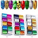 Kalolary Nail Art Transfer Foil, 30 coloresHolográfico Nail Stickers Tips Wraps Foil Transfer Sticker Glitters Kit de decoración para manicura Acrílico DIY Decoración (3 Caja / 30pcs)