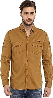 Mufti Men's Solid Slim fit Casual Shirt (MFS-9913-H-06-KHAKI-L_Khaki_L)