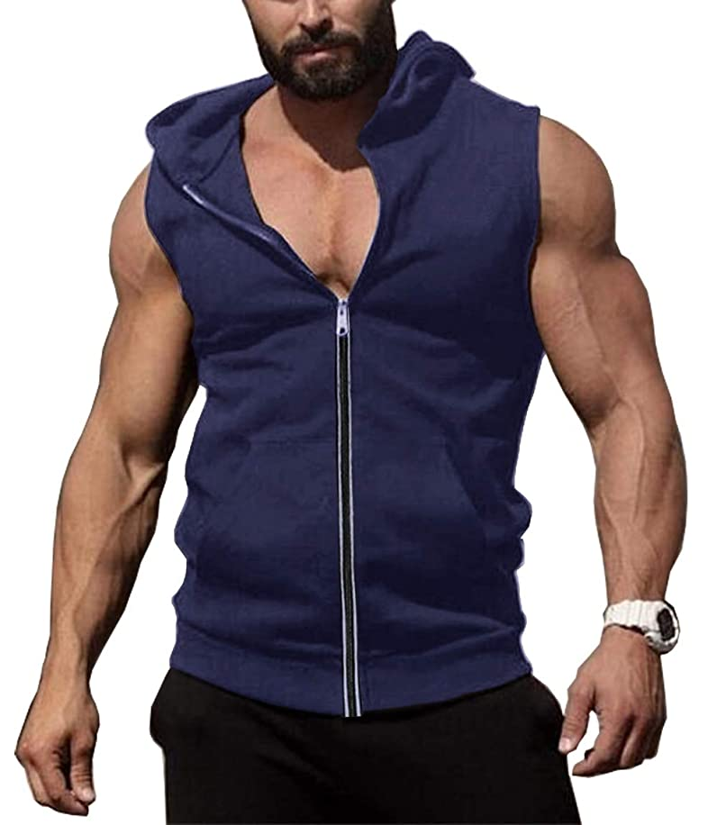 COOFANDY Men's Zip Up Workout Tank Tops Hooded Bodybuilding Fitness Muscle Cut T Shirt Sleveless Gym Hoodies