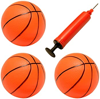 Liberty Imports Set of 3 Inflatable Magic Shot Mini Hoop Replacement Basketballs with Pump and Needle (4-Inch)