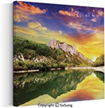 Canvas Wall Art Home Decorations for Bedroom Living Room Sunset Over The Lake Mountain and Forest in a Partly Cloudy Day Oil Paintings Canvas Prints Framed 24x24inch Earth Yellow Coral Green