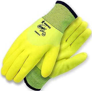 Ninja Ice Hi-Visibility 15 Gauge Nylon Insulated Cold Weather Gloves, Acrylic Terry Inner, 3/4 HPT Coating, Yellow, 1-Pair, Medium