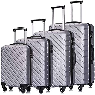 Apelila Hardshell Luggage ABS Luggages Sets With Spinner Wheels Hard Shell Spinner Carry On Suitcase(Silver, 4 PCS)