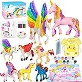 TaimeiMao 42 Piezas Unicornio Figuras Pintar,Unicornio Juguete,Unicornio para Pintar DIY Kit,Pintura Niños Kit,Pintar Unicornio Pinceles Colores,Kits de Pintura de Unicornio para Niños Pintar (A)