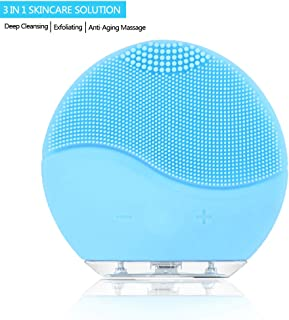 Facial Cleaning Brush,Minso Waterproof & Silicon Facial Cleaner, Electric Masager Cleansing System for Deep Cleansing Skin Care, Face Massage Brush and USB Charging Cables (Aquamarine)