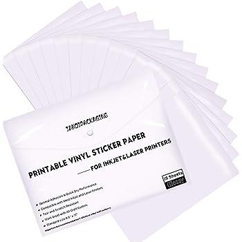 Amazon Com Printable Vinyl For Inkjet Printer 30 Pack Printable Vinyl Sticker Paper Matte White Standard Size 8 5 X11 Office Products