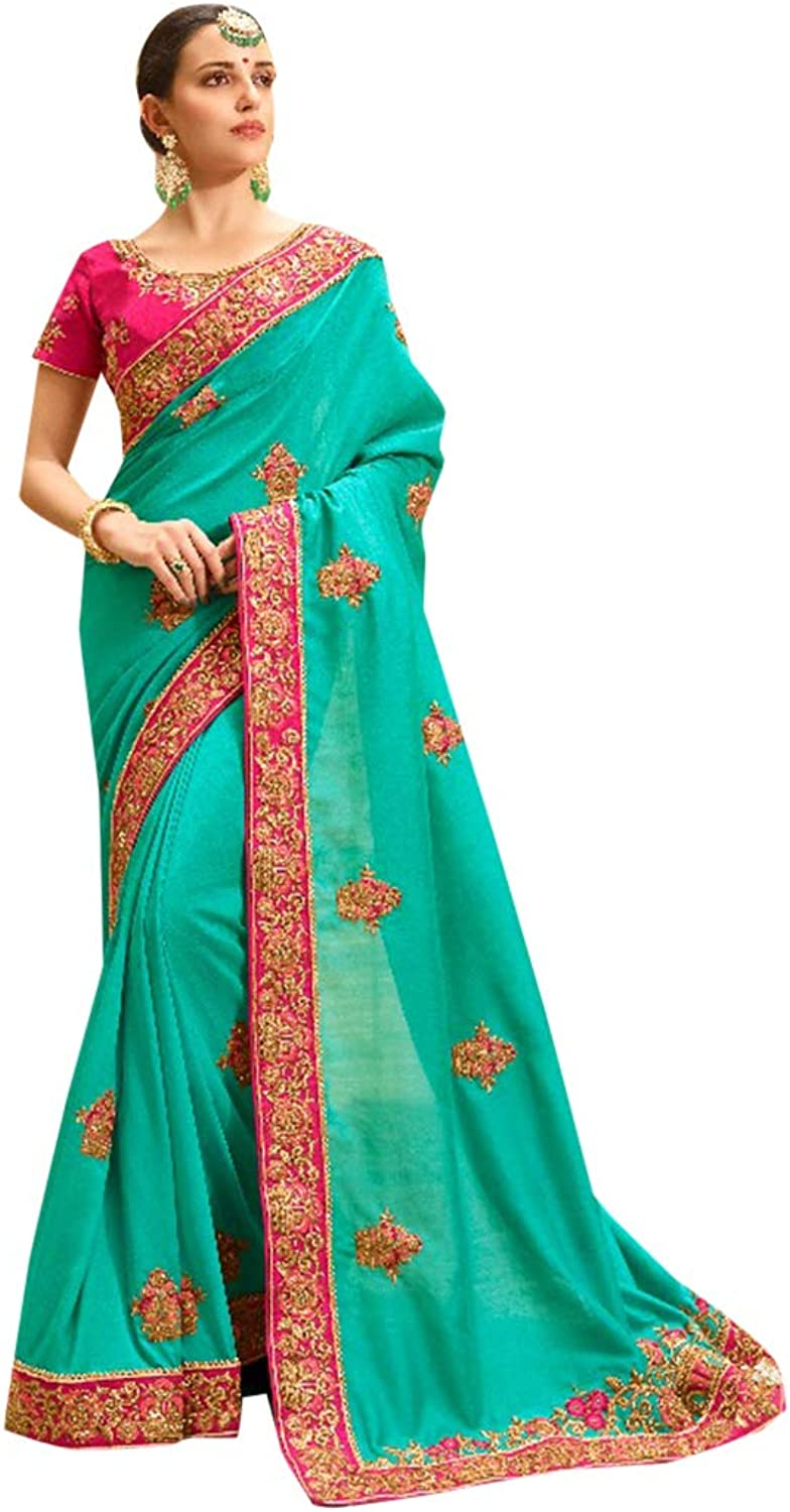 Silk Party Wear Collection of Designer Saree with Stylish Heavy Border Contrast Blouse Sari Indian Ethnic Women 754