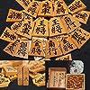 将棋、貴重品・古い時代の正次作・正次書の盛上駒と駒箱(直筆揮毫入り)付