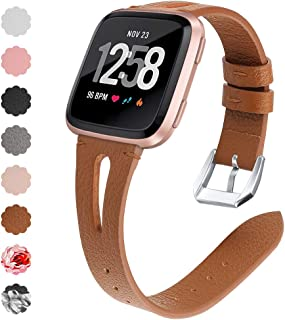 QIBOX Leather Bands Compatible with Fitbit Versa/Versa Lite, Slim Vintage Leather Band Replacement Strap Women Man Wristband Accessories Compatible with Fitbit Versa 2 Smartwatch, Vintage Brown