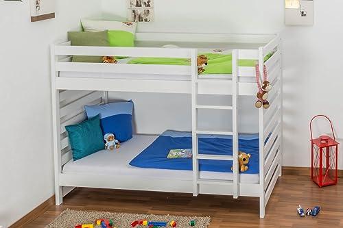 Kinderbett   Etagenbett Buche massiv Vollholz Weißlackiert 119  bmessung 90 x 200cm