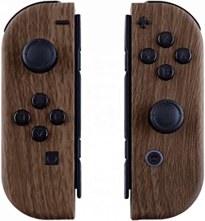 eXtremeRate Soft Touch Grip Wood Grain Joycon Handheld Controller Housing with Full Set Buttons, DIY Replacement Shell Cas...