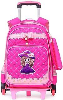 XHHWZB Boys Girls Rolling School Backpacks - Kids 6 Wheeled Trolley Schoolbag Waterproof Primary Children Bag Removable Outdoor Travelling Nylon Kids Luggage