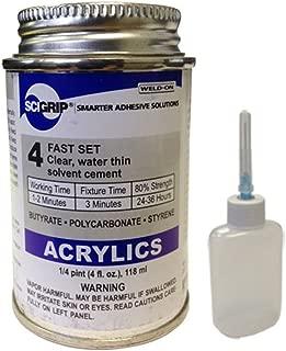 Weld-On 4 Acrylic Adhesive - 4 Oz and Weld-On Applicator Bottle with Needle