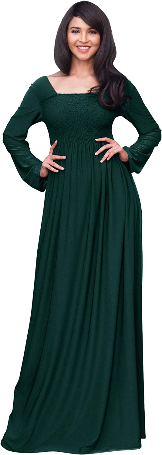 KOH KOH Women's Long Sleeve Square Neck Fall Evening Maxi Dress Gown