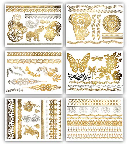Terra Tattoos Gold Henna Temporary Tattoos - 75 Fake Metallic Tattoos