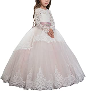Pink Lace up Long Sleeves Flower Girl First Communion Dresses