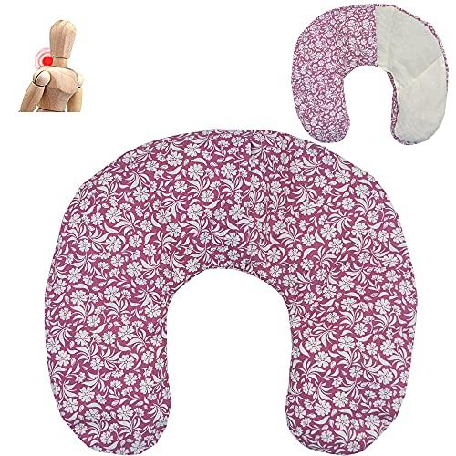 Cuscino termico cervicale con noccioli di ciliegia'FUSCHIA GARDEN' 36 x 32 cm - ripieno con 600gr di noccioli di ciliegie bio- per terapie del freddo e del caldo - con fodera lavabile in lavatrice