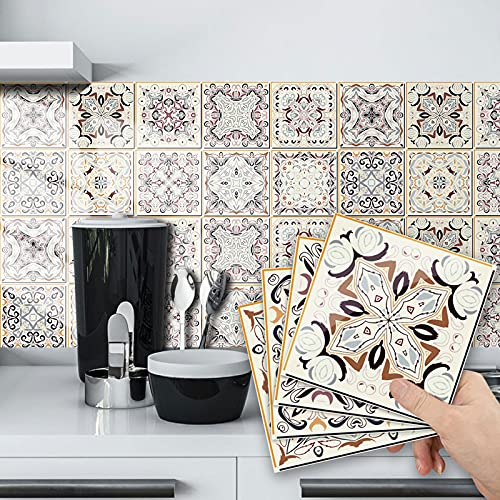 20 pegatinas de azulejos autoadhesivas de Mosaico, azulejos de pared impermeables, papel de azulejos, bricolaje, para decoración de casa, cocina, cuarto de baño, 10 x 10 cm