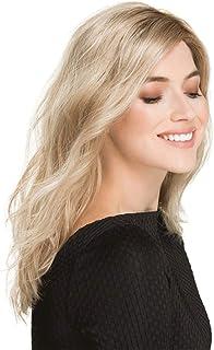 ブロンドナチュラルカールウィッグ - レディミディアムレングスライトゴールドダークルーツウィッグ、耐熱高密度 (色 : Blond)