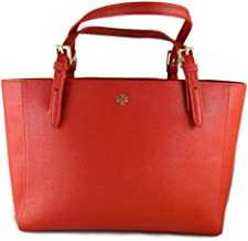 Tory Burch Red Leather Saffiano York Buckle Tote Handbag