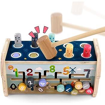 Fajiabao Jeux Montessori Banc à Marteler Jouet en Bois avec Xylophone & Jeu de Labyrinthe 3 in 1 Jouets Marteau Bois Jeux Éducatifs pour Garçons