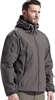 FREE SOLDIER Men's Jackets Outdoor Waterproof Softshell Hooded Tactical Jacket (Gray, XX-Large)