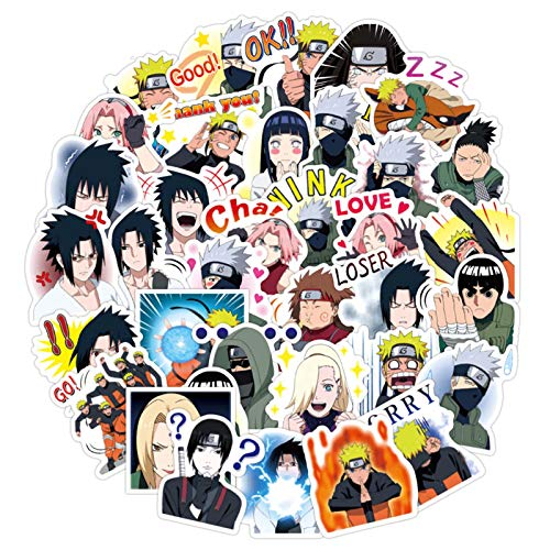 AMA-StarUK36 Anime Naruto Sticker Kakashi Cartoon Laptop Stickers Waterproof Decal Bumper No-Duplicate Skateboard Pad Car Snowboard Bicycle Luggage Decor(40pcs)