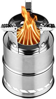 FURUISEN Portable Camping Stove, Wood Burning Stove Stainless Steel Backpacking Stove with Nylon Carry Bag for Outdoor Backpacking Hiking Traveling Picnic BBQ