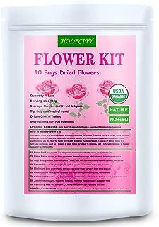 Organic Dried Flower Kit, 10 Bags Flowers for Tea, Soap Making, Rose Buds, Lavender, Rose Petals, Jasmine Flower, 7.0oz(200g) (10 bags(7.0 oz))